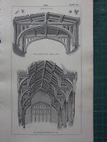 1850 Antico Gotico Architettura Stampa ~ Tetto Navata Kidlington San STEPHEN'S