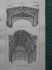 1850 ANTIQUE GOTHIC ARCHITECTURE PRINT ~ ROOF NAVE KIDLINGTON ST STEPHEN'S