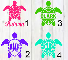 eaa09f275 Personalized Monogram Vinyl Decal sea turtle / turtle A Approx. 3inchx3inch