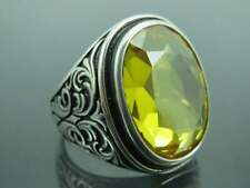 Handmade Jewelry 925 Sterling Silver Natural Certified Citrine Stone Men's Ring