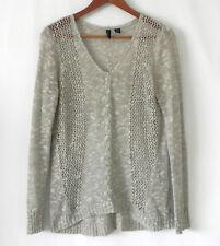Cynthia Rowley Crochet Top Tunic Tan Hi-Low Long Sleeve Size M