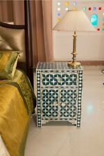 Mother of Pearl Inlay Star Design One Drawer Two Door Bedside Table Black