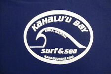 Kahalu'u Bay Kona Hawaii Surf and Sea Surfing Apparel Blue Nylon T Shirt L