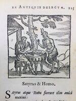 Le Satyre et l'homme 1682 Rare Gravure sur Bois Fables d'Esope