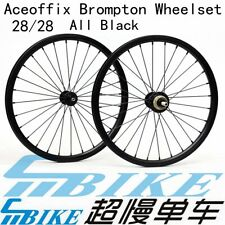 """Ace 16"""" 349 All Black Wheelset for Brompton Bicycle 1-7 speed 74/112mm 28 Spokes"""