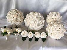 Ivory Foam rose Wedding Bridal Flower Brooch & Diamantes Bouquet Set