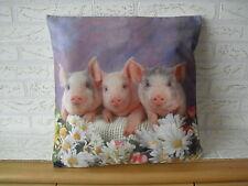 Kissenhülle, Kissenbezug, Dekokissen, Fotodruck 3 Schweinchen 40x40 cm