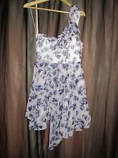 BNWT £55 UK 10 Topshop Dress Lilac Purple Pansy Floral Pattern Floaty 1 Shoulder