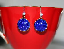 Vintage German electric cobolt blue pin fire art glass brass dangle earrings
