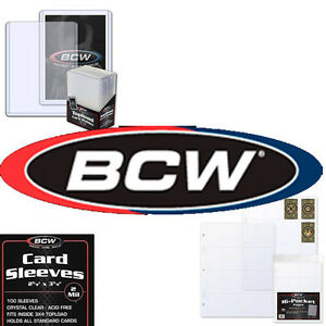 BCW Trading Card Hard Plastic Toploader Holders, and Penny Sleeves various sizes