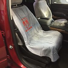 """Dodge Ram Car Seat Towel Slip-On Cotton Terry Cloth Grey Seat Cover: 47"""" X 24"""""""