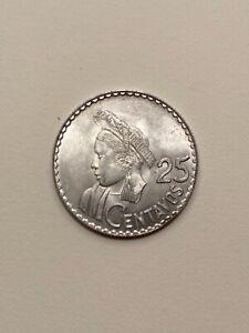 1963 Guatemala 25 centavos 72% silver coin, uncirculated