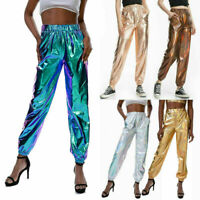 Women Shiny Metallic Night Club Hip Hop Trousers Pants Clubwear Disco Sweatpants