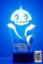 Personalized Baby Shark Night Light Cute Remote Baby Shark Led Light Up Colors