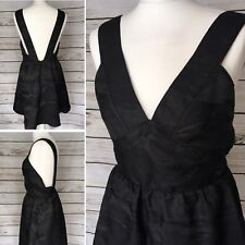 H&M Ladies Black Shimmer Pinafore Party Dress Brand New With Tags Size 12 UK