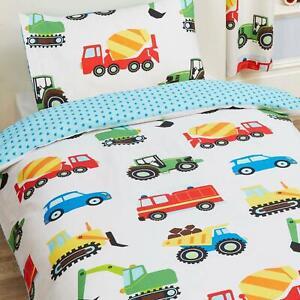 Trucks & Transport Kinderbett Bettbezug Set Traktoren Autos Neu Bettwäsche