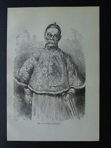 China A CHINESE SHOPKEEPER Original Victorian Print by Figuier c1893