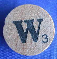 WordSearch Letter W Tile Replacement Wooden Round Game Piece Part 1988 Pressman