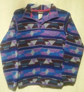 Vtg Purple Patagonia Synchilla Snap-T Pullover Jacket Aztec Geometric Sz X Small