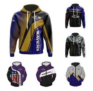 Baltimore Ravens Fans Hoodie Football Zip Up Sweatshirt Jacket Sportwear Gift
