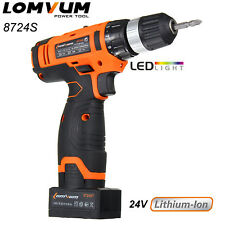 Lomvum 8724S 24V Li-Ion Cordless Electric Two Speed Power Drill with LED Light