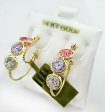 PINK & WHITE SAPPHIRES HOOP EARRINGS 14k YELLOW GOLD   * Free Shipping Service *