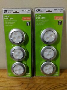 """COMMERCIAL ELECTRIC SILVER 6 PACK LED PUCK LIGHTS-USE 3 AAA BATTERIES 2.99"""""""
