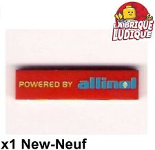 Lego - 1x Tile decorated 1x4 POWERED BY allinol car's rouge/red 2431pb166 NEUF