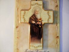 "Saint Benedict Wall Cross with Prayer 5"" Tall pressed wood & paper New!"