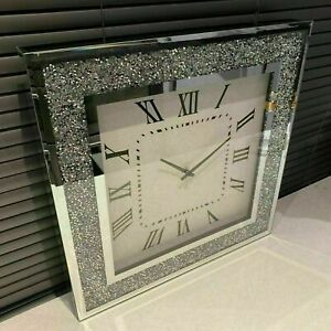 Silver Crushed Square Crystal Modern Roman Wall Clock Sparkle Diamante 40 x 40cm