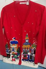 Vtg 80s Red Ugly Sweater V-Neck Cardigan Victoria Jones Sz Small Beads Applique