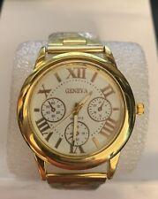 geneva gold stainless steel mens watch (L@@K)