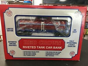 K-Line O 027 GAUGE Red Crown Gasoline Diecast Tank Car Bank With Base LNIB