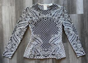 VALENTINO⚡️Intarsia knit jacquard peplum long sleeve knit top size Medium
