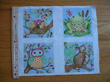 Woodland Friends Frog Owl Squirrel Birds  Cotton Quilt Fabric Panel Blocks (4)