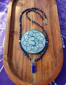 Mala Beads 108 Lapis Lazuli & Blue Sandstone  Meditation Obelisk Pendulum Yoga ♡