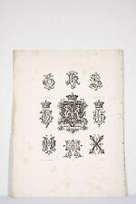 Gravure fin XIX° H Chiffres et Lettres Monogrammes Broderie Demengeot Graveur