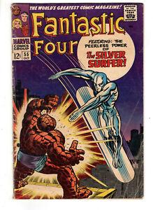 FANTASTIC FOUR #55 (1966) - GRADE 4.5 - SILVER SURFER VS THE THING - LOCKJAW AP!
