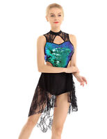 Womens Sequins Bodice Lace Asymmetric Dance Costume Lyrical Ballet Dress Costume
