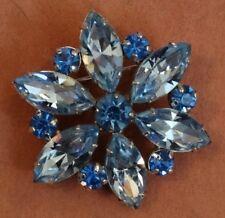Gorgeous Jay Flex Sterling Two tone Blue Rhinestone Snowflake Flower Pin Brooch