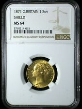 Great Britain 1871 Shield Gold Sovereign *NGC MS-64* Blazer Investment Quality