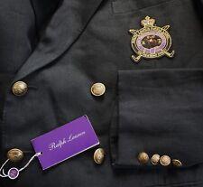 $2195 RALPH LAUREN PURPLE LABEL CREST Logo LINEN Blazer Jacket Sport Coat 46L