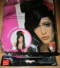 Smiffys Women Pin Up Babe Black Up do Wig With Flower for Halloween costume.