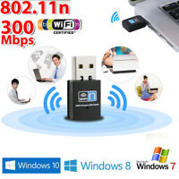 Wireless WiFi Adapter Dongle Network LAN Card 802.11n 300Mbps For Windows 10 7 8