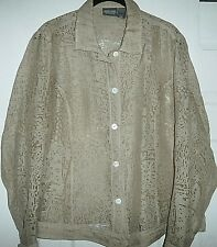 ADDITIONS BY CHICO'S CAFE AU LAIT SEMI SHEER LONG SLEEVE BUTTON DOWN SIZE 2