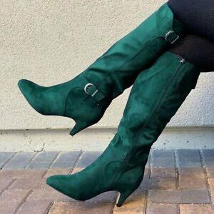 Women Knee High Boots Retro Suede Kitten Heels Side Zip Buckle Pointed Toe Shoes