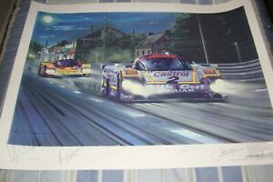 """""""DUEL ON THE MULSANNE"""" 1988 24 HRS LE MANS BY NICHOLAS WATTS SIGNED BY 6 DRIVERS"""