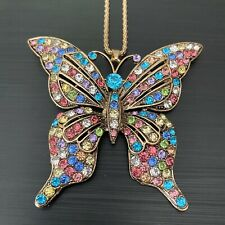 BETSY JOHNSON MultiColored Crystal Butterfly Pendant Brooch on Gold Necklace NWT
