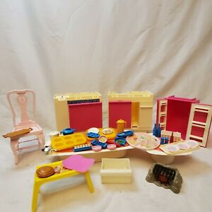 Vintage Mattel Barbie Furniture Lot Fridge Dishwasher Stove Pots Dishes Toys