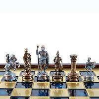 Manopoulos Greek Roman Army Chess Set - Blue&Copper - Wooden case - Blue Board